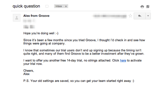 groove onboarding email after 90 days
