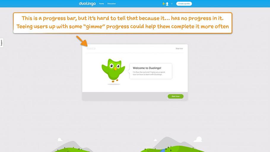 Endowed Progress Effect duolingo example 1